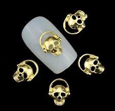 NEU Nail Styling Nagel Design 1 St. 3D Gold Totenkopf Skull Charm Overlay