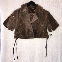 Fredericks Of Hollywood Bolero Jacket Crop Sexy MED Brown Suede Leather Tie Side