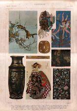Stampa antica TESSUTI MASCHERA VASI Giappone Japan 1920 Old antique print