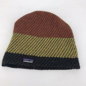 Patagonia Backslide Beanie Knit Hat Orange Yellow Gray One Size Wool Blend Logo