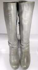 MIZ MOOZ ~ Shelley ~ Anthropology Grey Leather Knee High  Heel Boots Women US 8