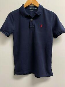 EUC Ralph Lauren BOYS Size M Polo Shirt Navy Blue Red Pony Logo