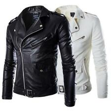 Fashion Men's PU Leather Slim Jacket Fit Biker Motorcycle Jacket Coat Outwear UK