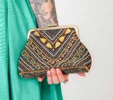 Beautiful vintage art deco style clutch bag evening bag peacock coloured beads
