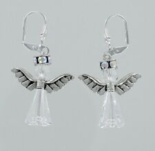 Christmas Angel Earrings - Swarovski Clear Crystal Pewter Wings Holiday Gift NEW