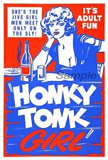 VINTAGE HONKY TONK GIRL MOVIE POSTER A2 PRINT