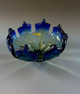 Große Murano Glas Schale Spitzen Flavio Poli  Seguso 60er 70er Gemarkt 1,2kg