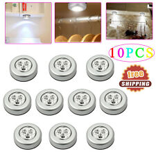 10 PCS 3 LED Touch Push Light Self-Stick On Click Battery Operated On/Off Lights