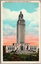 """1930s Baton Rouge, LA Postcard """"NEW LOUISIANA STATE CAPITOL"""" Tichnor / Unused"""