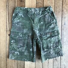 LL Bean Boys Shorts Size 6X/7 Cargo Green Camo Pockets 100% Cotton Adjustable