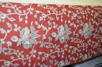 "Anthropologie Bedding Bed Skirt Red Cream Boho 60""x 80"" Full Size 15"" Drop"