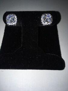 White Sapphire Earrings In Topaz Halo