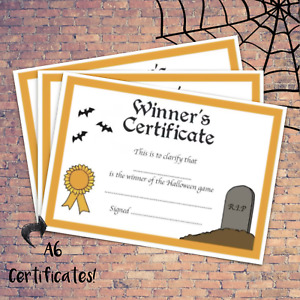 Halloween Certificate - Kids Party Game - 10+ Pack - Costume Decoration Witch