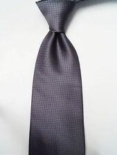 Classic Pure Color 10cm Jacquard Woven Fine Grids Men's Tie Necktie Dark Grey