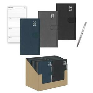 2022 Week To View Premium Padded Slim Pocket Diary Stud Close Diary With Pen
