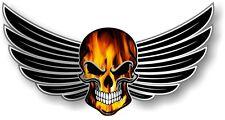 30 cm Ciclista Cráneo con alas alas llamas realistas Naranja & Efecto Auto Moto Pegatina