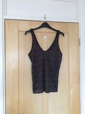 Zara Black Silver Knitted B Back Vest Top Size S 8 10