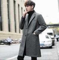 Korean Fashion Mens Cashmere Blazer Coat Mid Long Wool Blend Lapel Slim Jackets
