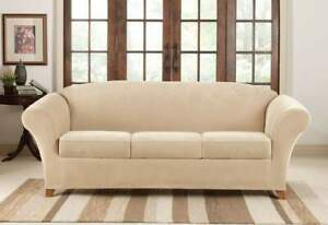 Stretch Pique 4 piece stretch Sofa Slipcover cream tan by sure fit washable