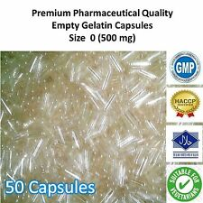 50 Empty Capsules Size 350 mg Clear Gelatin Powder Capsule Filling Refilling