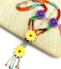 Pendant Enamel Betsey Johnson Fashion Rhinestone Flower bead tassel necklace