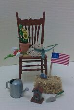 Dollhouse mini 1:12 garden chair flowers, hat, sprinkling can,bird house, mouse.