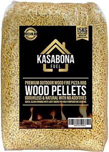 KasaBona Premium Pellet Quality Pure Wood Pellets BBQ Pizza Oven Fuel 15kg Bag