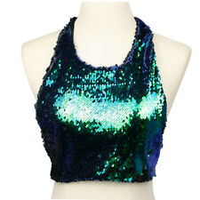 Fashion Women Sequin Crop Top Sexy Backless Summer Beach Festival Clubwear UK