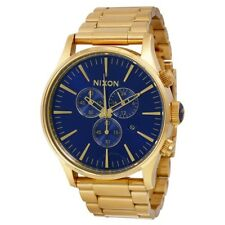 Nixon SENTRY CHRONO Gold/ Blue sunray Mens Watch A386-1922