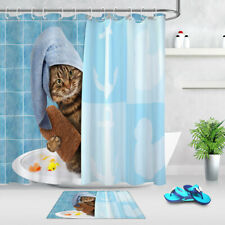 Cute Funny Cat Taking Bath Creative Design Shower Curtain Set Bathroom Decor 72""