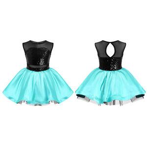 Kids Girls Tutu Mesh Dance Dress Ballet Jazz Patchwork Style Performance Dress