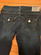 Women's True Religion Medium Denim Jeans size 28 skinny straight logo 5 pocket