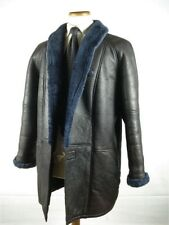 Unisex Shawl Collar Shearling Leather Coat Jacket Fits Womens as L Mens S-M