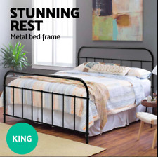 KING Size Strong Metal Bed Frame Size Round Tube Base Powder coated steel Black