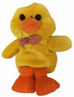 greenbrier yellow orange plush toy stuffed animal duck with checkered ribbon