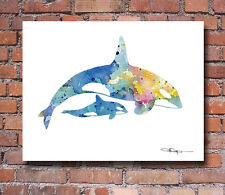 Orca and Baby Abstract Watercolor Painting Art Print by Artist DJ Rogers