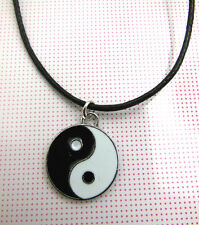 A Wax Cord Chinese Feng Shui Ying / Yin Yang  AMULET NECKLACE Charm Pendant .
