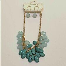 NWT Dressbarn necklace & pierced earrings set green polished stones drop dangle