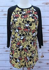 XL LuLaRoe Disney Randy Vintage Minnie Mouse Yellow Polka Dots Flowers Dress NWT