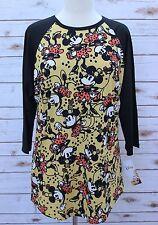 Large LuLaRoe Disney Randy Vintage Minnie Mouse Yellow Polka Dots Flowers Dress