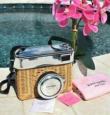 🌸 Kate Spade New York  Rose Wicker Camera Bag Rattan Natural / Silver NEW RARE