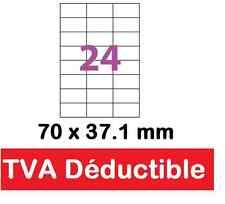 planche A4  de 24 étiquettes autocollantes blanches 70 x 37.1 mm ( 70 x 37)