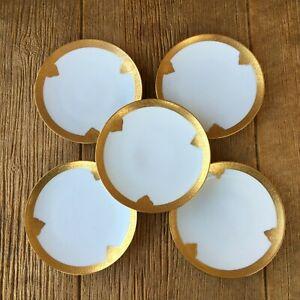 Antique Jul H Brauer Heavy Gold Gilt Plates Clover Design Set of 5 Vintage China