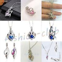 Gothic Men Women Silver Pearl Dragon/Unicorn/Pumpkin Pendant Cage Chain Necklace