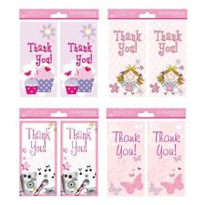 16 x Girls Female Thank You Cards 4 Different Designs (Butterfly Fairy Cupcake)