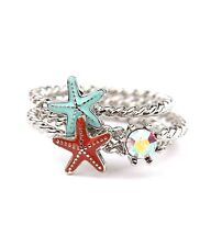 3 pc Starfish RING Set Shell Crystal Silver Tone Bands Ocean BEACH QUALITY USA