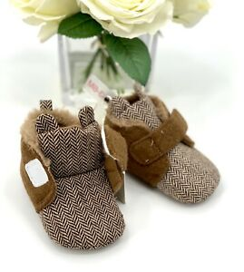 Baby Boys' Bootie Size 3-6 Mos Crib Shoes Slipper - Cat & Jack Brown Teddy Bear