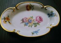 Jlmenau Trinket Dish White Trimmed in Gold Pink Blue Yellow Floral
