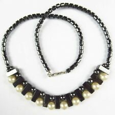 Black Hematite Natural Pearl Ball Cylindrical Pendant NeckLace 17.5 Inch Q59856
