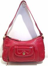 Perlina Red Patent Leather Leopard Interior Medium Satchel Shoulder Bag